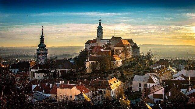 Rooftops and steeples in an old city in the Czech Republic.
