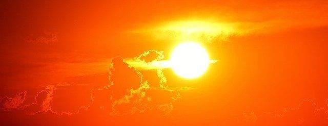A brilliant orange sunset