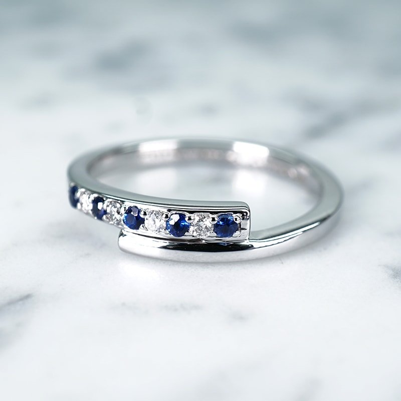 Petite Pave Eka Blue Sapphire Ring with Diamond in 14k White Gold