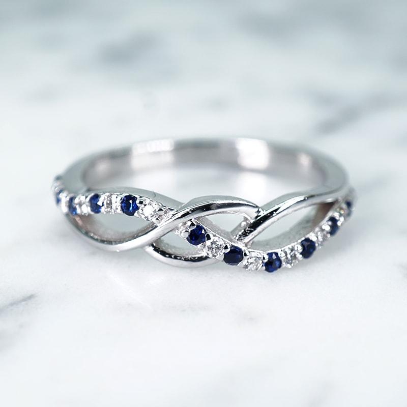 Petite Pave Kallola Blue Sapphire Ring with Diamond in 14k White Gold