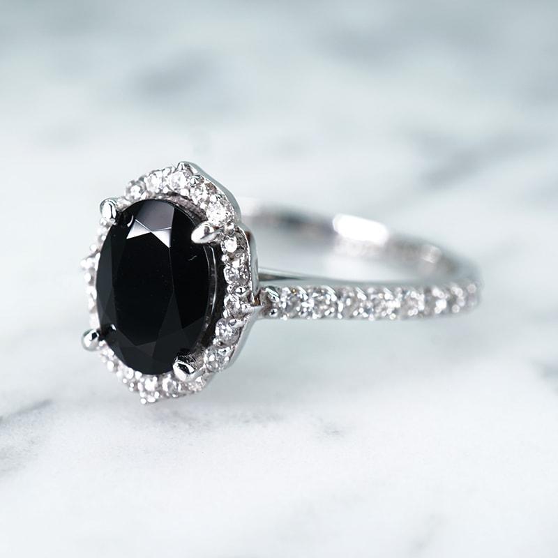 Halo Pave Oval Prasava Black Onyx Ring with Diamond in 14k White Gold