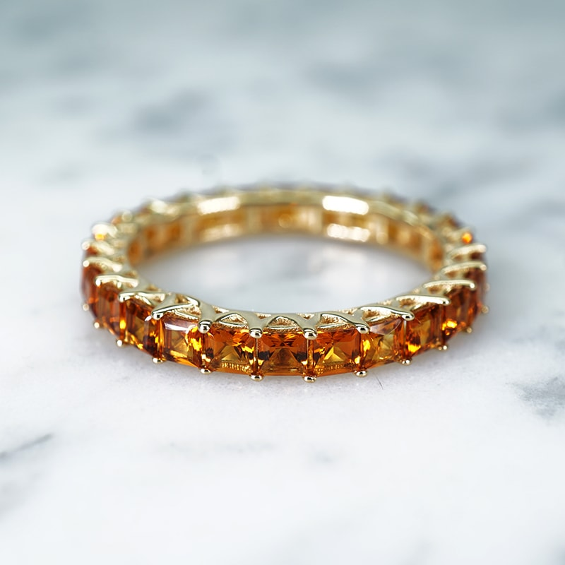 Eternity Sacakra Citrine Band in 14k Yellow Gold