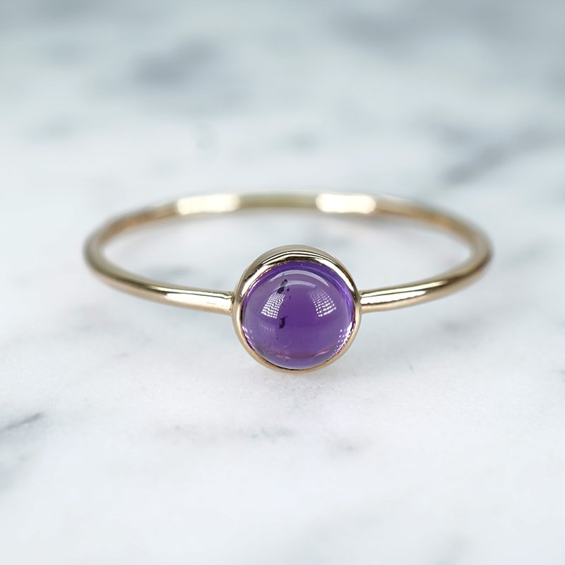 Simple Solitaire Bezel Goladipa Amethyst Band in 14k Yellow Gold