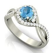 Swiss Blue Topaz Gemstone Engagement Ring