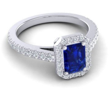 Halo Emerald Cut Asta Custom Engagement Ring